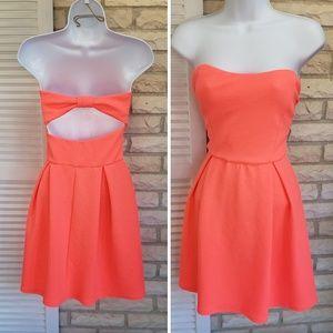 Dresses & Skirts - Neon pink orange strapless dress